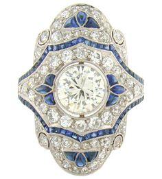 Platinum, DIamond & Sapphire Handmade Ring