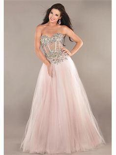 Pink A Line Sweetheart Crystal Boned Tulle 2013 Prom Dresses