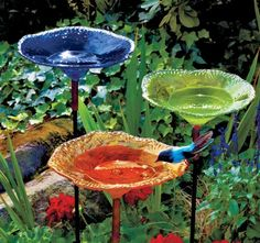 Wow, would love to have these Blown Glass Birdbaths in my garden, beautiful!