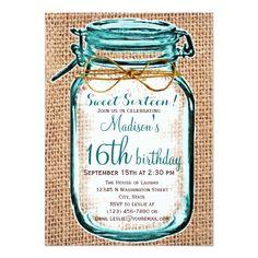 Sweet Sixteen Birthday Party Invitation Rustic Country Mason Jar Birthday Invitation