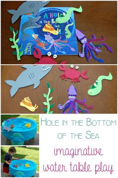 A Hole in the Bottom of the Sea - bringing the book alive for young children through play part of the Story Book Summer on Rainy Day Mum Sea Activities, Preschool Learning Activities, Indoor Activities For Kids, Crafts For Kids, Preschool Projects, Summer Crafts, Family Activities, Toddler Play, Toddler Learning