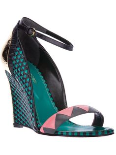 SERGIO ROSSI embellished sandal    Green sandals from Sergio Rossi featuring an open toe, a front toe strap, a brand embossed sole, an ankle strap with a side buckle fastening and a wedge heel with stiletto heel print.
