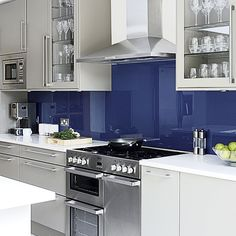 Cooking area | Blue and grey kitchen | House tour | PHOTO GALLERY | Beautiful Kitchens | Housetohome.co.uk