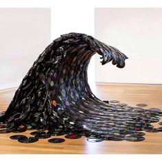 artfido: Sound 'WAVE'. Clever vinyl sculpture by Jean Shin. (Shared by @yaseen_uk) www.artfido.com