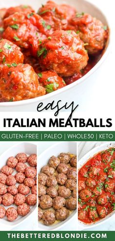 These Easy Baked Italian Meatballs are so tender and flavorful. They are perfect to prep ahead of time so you can have a delicious and healthy meal in no time at all. This family friendly recipe is sure to be a hit in your home. Dairy Free Recipes, Meat Recipes, Paleo Recipes, Dinner Recipes, Baked Italian Meatballs, Healthy Meatballs, Whole 30 Diet, Paleo Whole 30, Easy Whole 30 Recipes