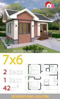 House Plans Design 7x6 with 2 Bedrooms Gable Roof House Plans 3D Gable roof house Dream house plans House plans