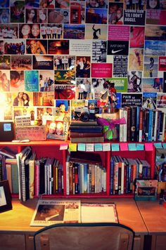 Create a collage of motivational photos and sayings as well as photos in your college dorm room.