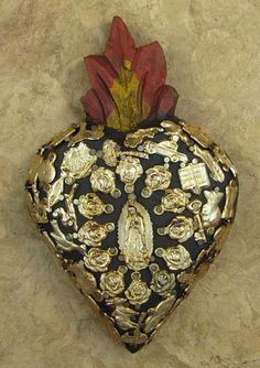 Mexican Folk Art WOODEN Sacred HEART With by alamo2003, $25.99
