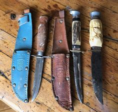 3 Antique Swedish Hunting Knives As Found.