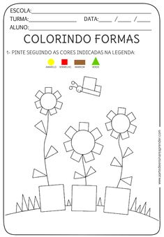 Atividade pronta - Formas geométricas Shapes Worksheets, Kids Math Worksheets, Learning Activities, Preschool Activities, Numbers Preschool, Preschool Learning, Teaching, Drawing Lessons For Kids, Math For Kids