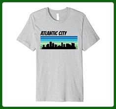 Mens Retro Atlantic City Shirt: 1970's Style Skyline Silhouette Large Heather Grey - Retro shirts (*Amazon Partner-Link)