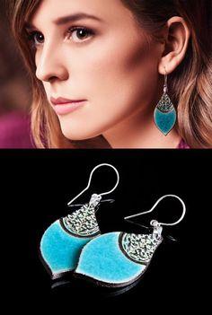 Zuzanna Żylińska Zu Design  Turquoise ceramic earrings www.polandhandmade.pl #polandhandmade #earrings #ceramicjewelry