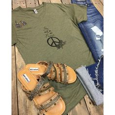 """ #NEWARRIVALS  He will be our Peace #Tee $29.99 S-L #7FAM #Distressed #Cropped $198.00 25-32 #NotRated #PalmIsland #Sandal $49.95 6-11 #PinkPanache #Earrings $40.99 We #ship! Call to order! 903.322.4316 #shopdcs #goshopdcs #shoplocal #love #shopspring #hewillbeourpeace"" Photo taken by @daviscountrystore on Instagram, pinned via the InstaPin iOS App! http://www.instapinapp.com (02/10/2016)"