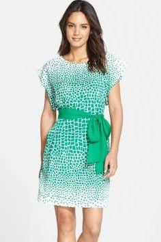 Eliza J Print Crêpe de Chine Shift Dress $ 82.80