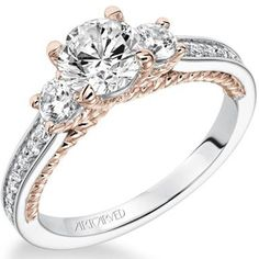 "Artcarved ""Marlow"" Contemporary Three Stone 14kt Rose and White Gold Diamond Engagement Ring Featuring 0.44 Carats Round Cut Diamonds. Style 31-V194-E"