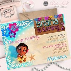 Disney Moana Invitation Maui Swimming Pool Party Moana Birthday