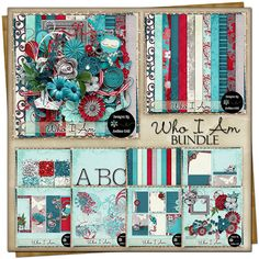 Who I Am {Bundle} Upper And Lowercase Letters, Page Borders, Embossed Paper, Free Digital Scrapbooking, Letter Set, Grab Bags, Vintage Ephemera, Journal Cards, Word Art