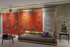 Indian Art with Contemporary Furniture creates a Splendid Fusion – The Architects Diary – Indian Living Rooms Indian Living Rooms, Living Room Photos, Living Room Art, Living Area, Contemporary Interior Design, Contemporary Furniture, Feature Wall Design, Latest House Designs, Accent Wall Bedroom