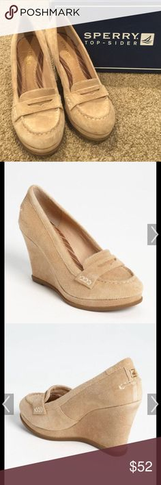 Sperry! Top Sider Wedges! 7M, Tan Suede Sperry! Top Sider Wedges! 7M, Tan Suede, Loafer Wedges, 100% Authentic, Minimal Wear/Worn 2-3x, Super Cute! Great for Professional Attire or Paired w/ Skinny Jeans!                               Reason for Sale: Love Them!, But My Foot is too Narrow Sperry Top-Sider Shoes Wedges