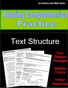 Reading Comprehension: Text Organization Passages
