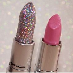 Mac glitter lipstick ❤ liked on Polyvore featuring beauty products, makeup, lip makeup, lipstick and lips