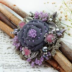 Wonderful Ribbon Embroidery Flowers by Hand Ideas. Enchanting Ribbon Embroidery Flowers by Hand Ideas. Textile Jewelry, Fabric Jewelry, Zipper Jewelry, Brooches Handmade, Handmade Flowers, Lace Flowers, Fabric Flowers, Fabric Flower Brooch, Barrettes