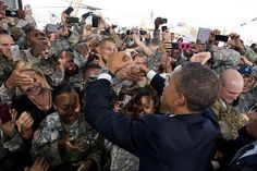 President Barack Obama greets troops after delivering remarks at Fort Bliss in El Paso, Texas, Aug. 31, 2012. The President traveled to Fort Bliss to mark the two-year anniversary of the end of America's combat mission in Iraq. (Official White House Photo by Pete Souza)