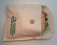 Items similar to Reusable Eco Sandwich and Snack Bag Set of 2 - Organic Cotton - Lime --- Back to School on Etsy