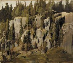 Weathered Rocks 1871- oil on canvas, fixed on veneer plywood - Rapakivikallioita,  – öljy kankaalle, kiinnitetty vanerille – Churberg, Fanny (1845-1892), Ateneumin taidemuseo