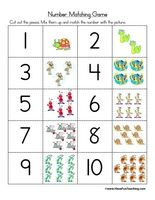 Here's a series of cards for students to use to play a number matching game.