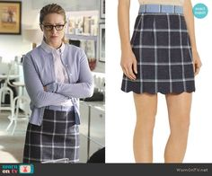 Kara's blue checked skirt and striped shirt on Supergirl. Outfit Details: https://wornontv.net/56528/ #Supergirl