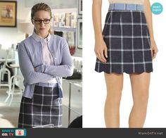 Kara's blue checked skirt and striped shirt on Supergirl Fashion Tv, School Fashion, Work Fashion, Star Fashion, Fashion Outfits, Business Outfits, Business Fashion, Business Clothes, Wool Mini Skirt