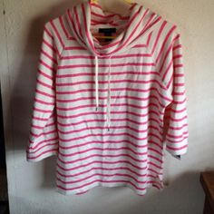 🌟FINAL PRICE🌟Chaps Pink Stripe Sweatshirt NWT Pink and creamy white. Cowl neck sweatshirt. Drawstring neck. Raglan 3/4 sleeves. Tunic length. 70% cotton, 20% polyester, 10% viscose. Size medium. Chaps. New with the tag. Chaps Tops Sweatshirts & Hoodies