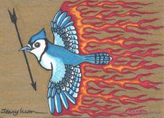 Original ACEO TW Jun blue mocking jay on fire holding arrow P4PMJFF #Miniature