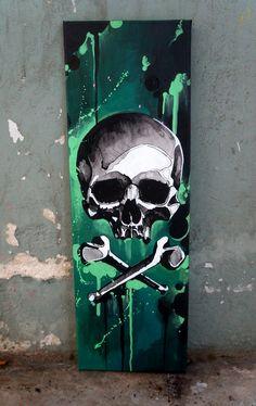 Graffiti Art Drawings, Graffiti Wall Art, Murals Street Art, Acrylic Painting Canvas, Canvas Art, Skull Artwork, Art Drawings Sketches Simple, Stencil Art, Urban Art