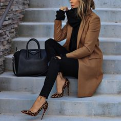 Camel coat with black basics