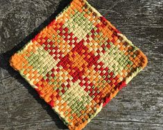 Your place to buy and sell all things handmade Potholder Loom, Potholder Patterns, Crochet Potholders, Crochet Dishcloths, Crochet Cozy, Weaving Projects, Weaving Patterns, Loom Weaving, Hot Pads