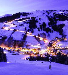 night skiing in Saalbach-Hinterglemm, Salzburg, Austria