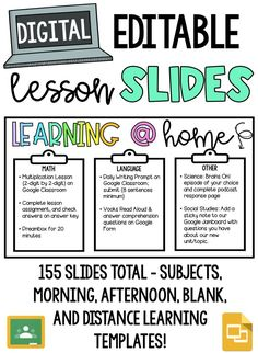 Has your elementary or secondary classroom switched to online learning? These slides will help you organize your students schedules and expectations so that you can continue your teaching and their learning digitally! There are 155 slides included that can be used in the classroom as well (subject slides, morning slides, afternoon slides, blank completely editable slides) 5th Grade Classroom, Flipped Classroom, School Classroom, Middle School Teachers, Future Classroom, Classroom Ideas, Online Classroom, Teaching Technology, Google Classroom
