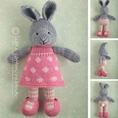 Knitting Pattern Name; Bunny Girl in a Dotty Dress Pattern by: Julie Williams (Little Cotton Rabbits) Knitted Bunnies, Knitted Animals, Knitted Dolls, Crochet Toys, Knit Crochet, Baby Knitting Patterns, Knitting Baby Girl, Little Cotton Rabbits, Stuffed Animal Patterns
