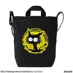 Black Unkempt Kitten GabiGabi Duck Canvas Bag