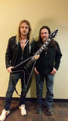 Richie Faulkner of Judas Priest with Andy Beech of D'haitre' Guitars