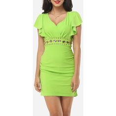 Plain Beading Cape Sleeve Hot Deep V Neck Bodycon Dress ($26) ❤ liked on Polyvore featuring dresses, body con dress, bodycon dress, bodycon cocktail dress, green body con dress and green bodycon dress