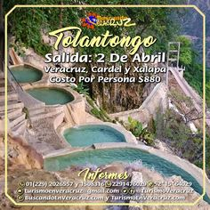 Vamos de #excursión a #Tolantongo este 2 de abril saliendo de #Veracruz, #Cardel y #Xalapa  Costo por persona $880 incluye traslado viaje redondo, coordinador de grupo y seguro de viajero.  Reserva tu lugar por este medio o a los teléfonos 01 (229) 2026557 y 1508316 Prip ID 52*15*64029 WhatsApp 2291476029 y 2291508316 Email turismoenveracruz@gmail.com  Link: http://www.buscandoenveracruz.com/2017/01/excursion-a-tolantongo-en-abril-de-2017/