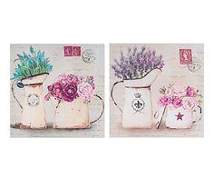 Set de 2 impresiones sobre lienzo Vintage Sofía - 38x38 cm