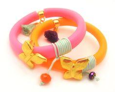Neon Bracelet TREND  Neon Orange Rubber Bracelet w/ by minifabo, $25.00