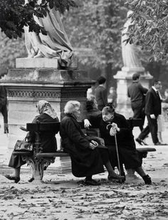 """France. Jardin du Luxembourg, Paris, 1963 // André Kertész""  .............. I wonder what these women were talking about... what each of their stories was... They lived through two world wars in their country, given their ages,... What stories they could tell!!!......."