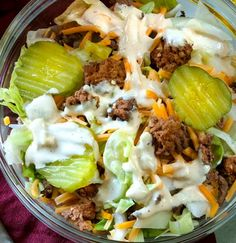 If you're keto and are missing Big Macs, have I got the perfect Big Mac Salad and Big Mac Sauce recipe for you! Super easy and let me tell you–it tastes EXACTLY like a Big Mac. Except, of course, this low carb hamburger salad is actually good for you. Low Carb Fast Food, Low Carb Keto, Low Carb Recipes, Beef Recipes, Healthy Recipes, Low Carb Meals, Low Carb Hamburger Recipes, Low Carb Lunch, Snacks Recipes