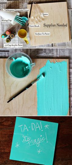 Combine this with the many projects that exist for putting chalkboard paint on walls or furniture and this opens up a whole world of DIY decor ideas! --- Make your own chalkboard paint in any color! This may be the greatest discovery ever Cute Crafts, Crafts To Do, Arts And Crafts, Diy Crafts, Diy Projects To Try, Craft Projects, Craft Ideas, Spring Projects, Do It Yourself Inspiration