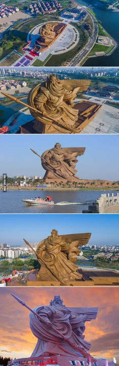 """China unveils colossal 1,320-ton sculpture of Chinese God of War """"Guan Yu"""" in Jingzhou city."""